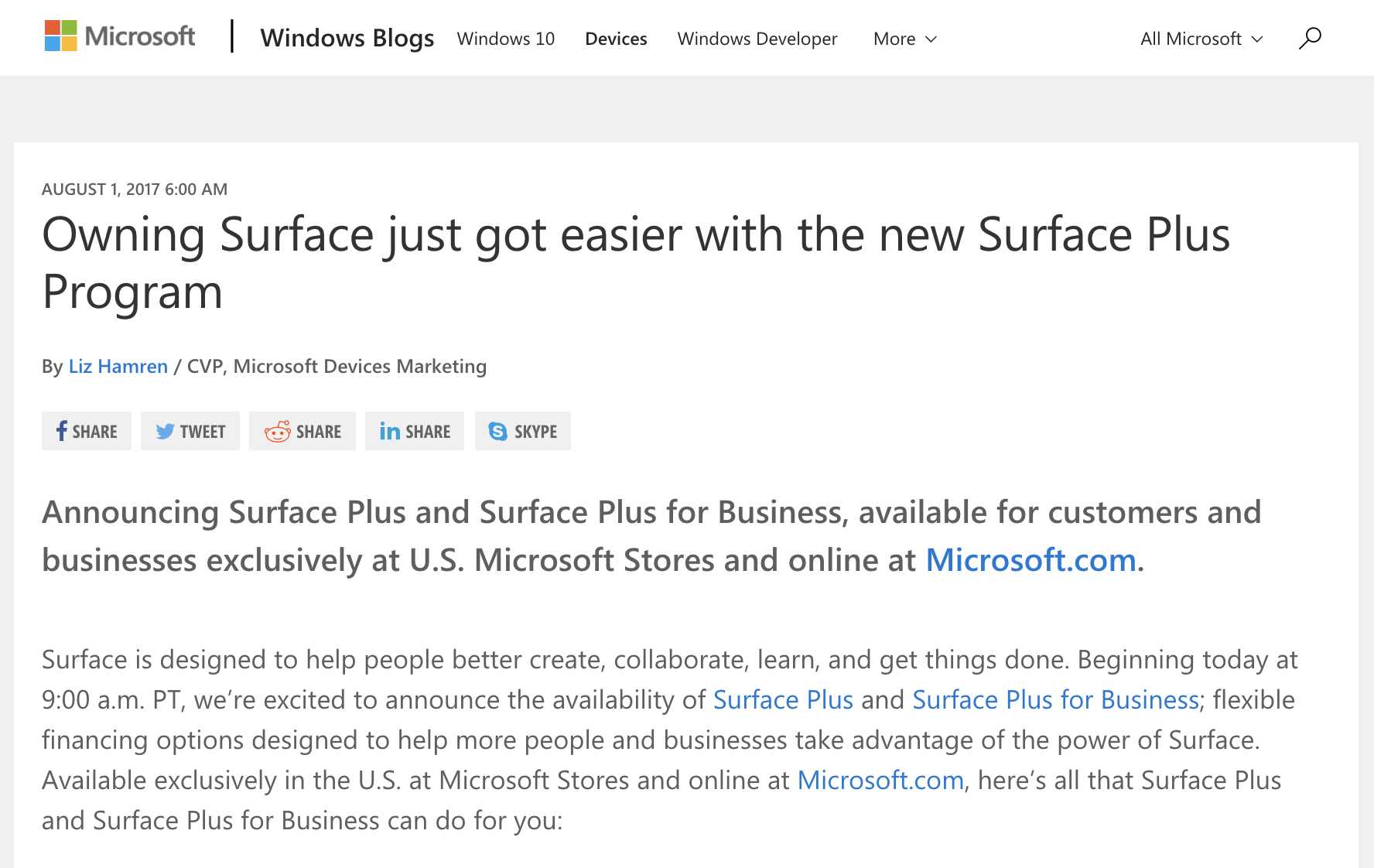 Microsoft Surface Plus Financing Announcement Blog Post (2017)