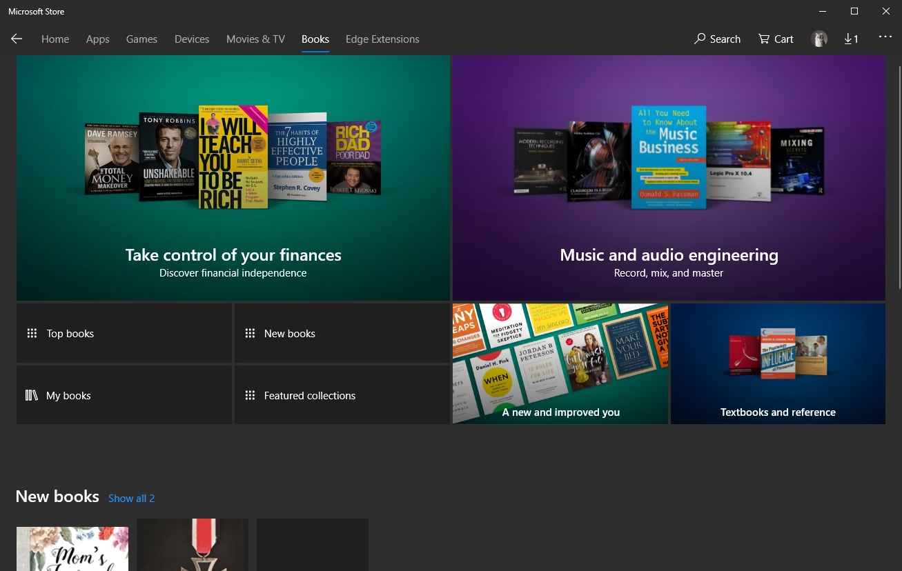 Microsoft eBook Store Interface (2018)