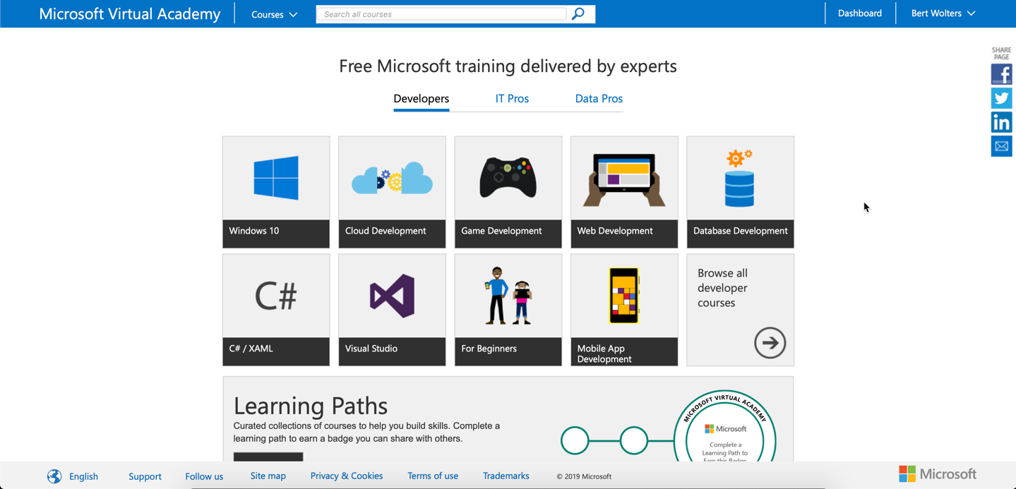 Microsoft Virtual Academy Homepage (2018)