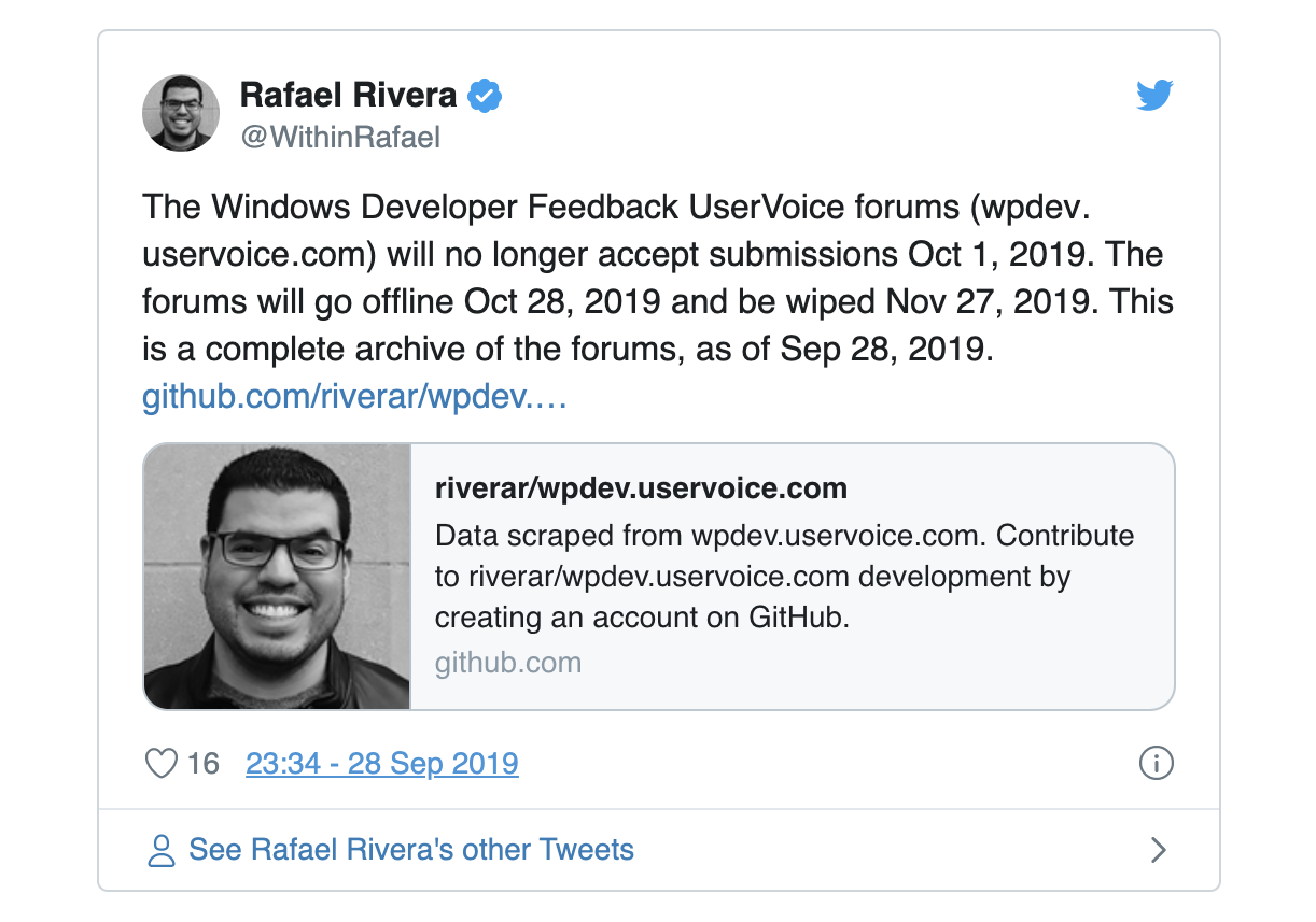 Tweet Announcing Shut Down of Windows Developer Forums (2019)