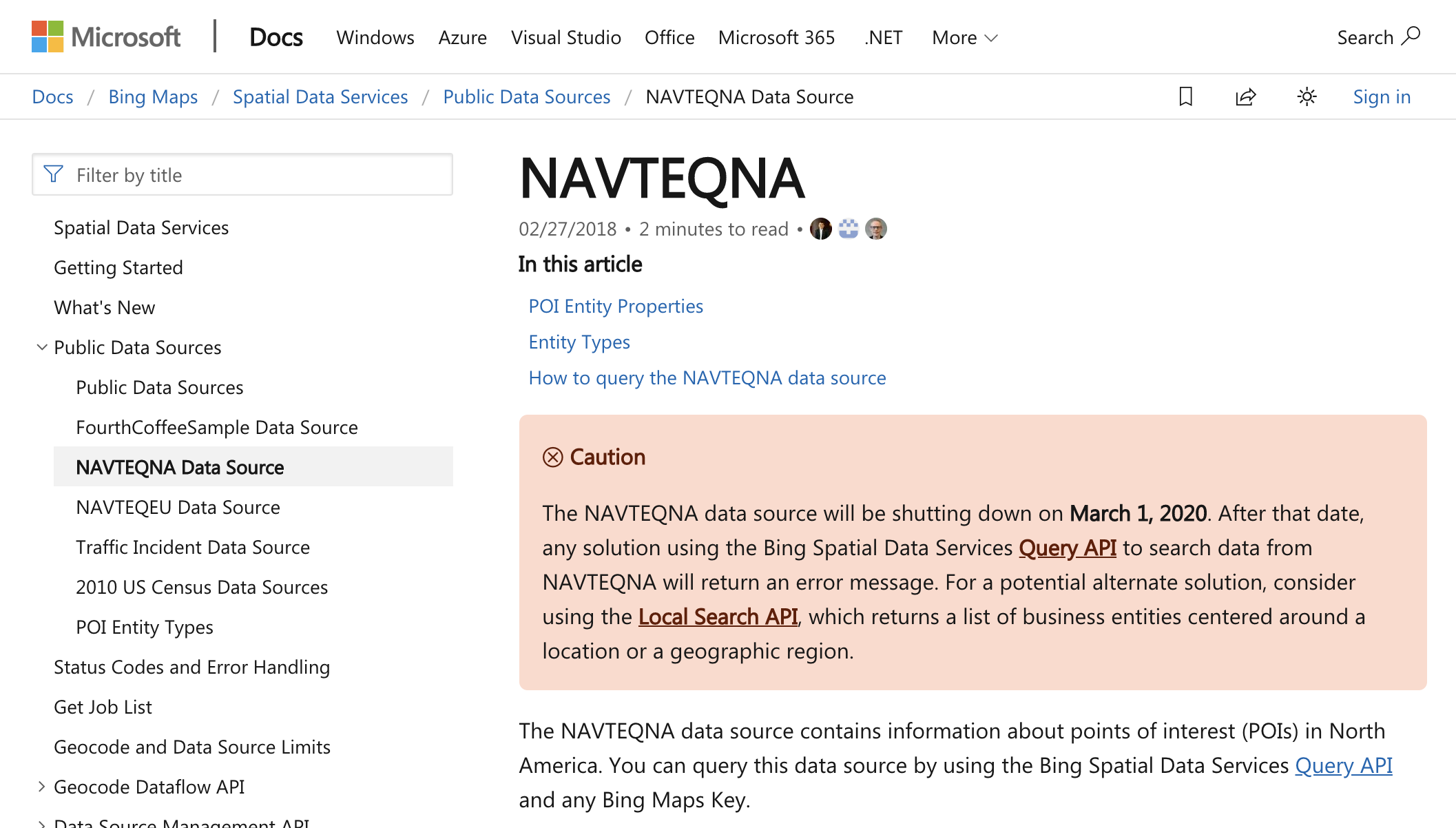 Bing Maps API Documentation Page Annoucing NAVTEQ Dataset Shutdown (2019)