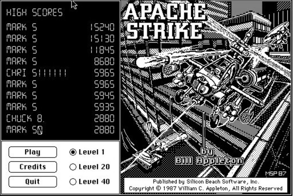 Apache Strike game (1987)