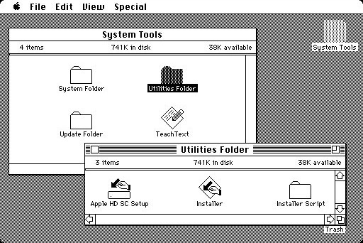 Mac OS System 4 desktop and Finder (1987) (1987)
