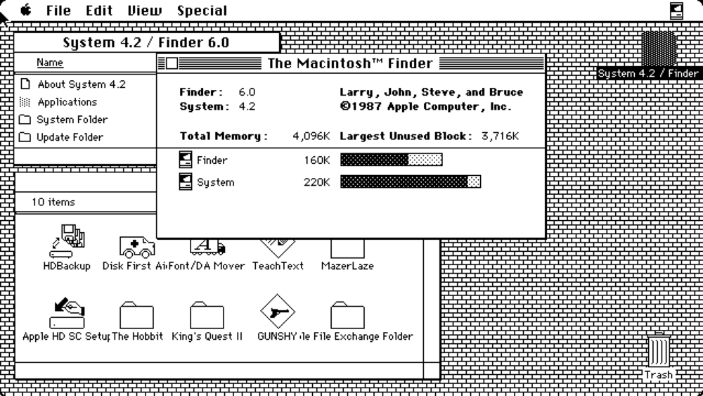 Mac OS System 4 desktop with Finder open (1987)