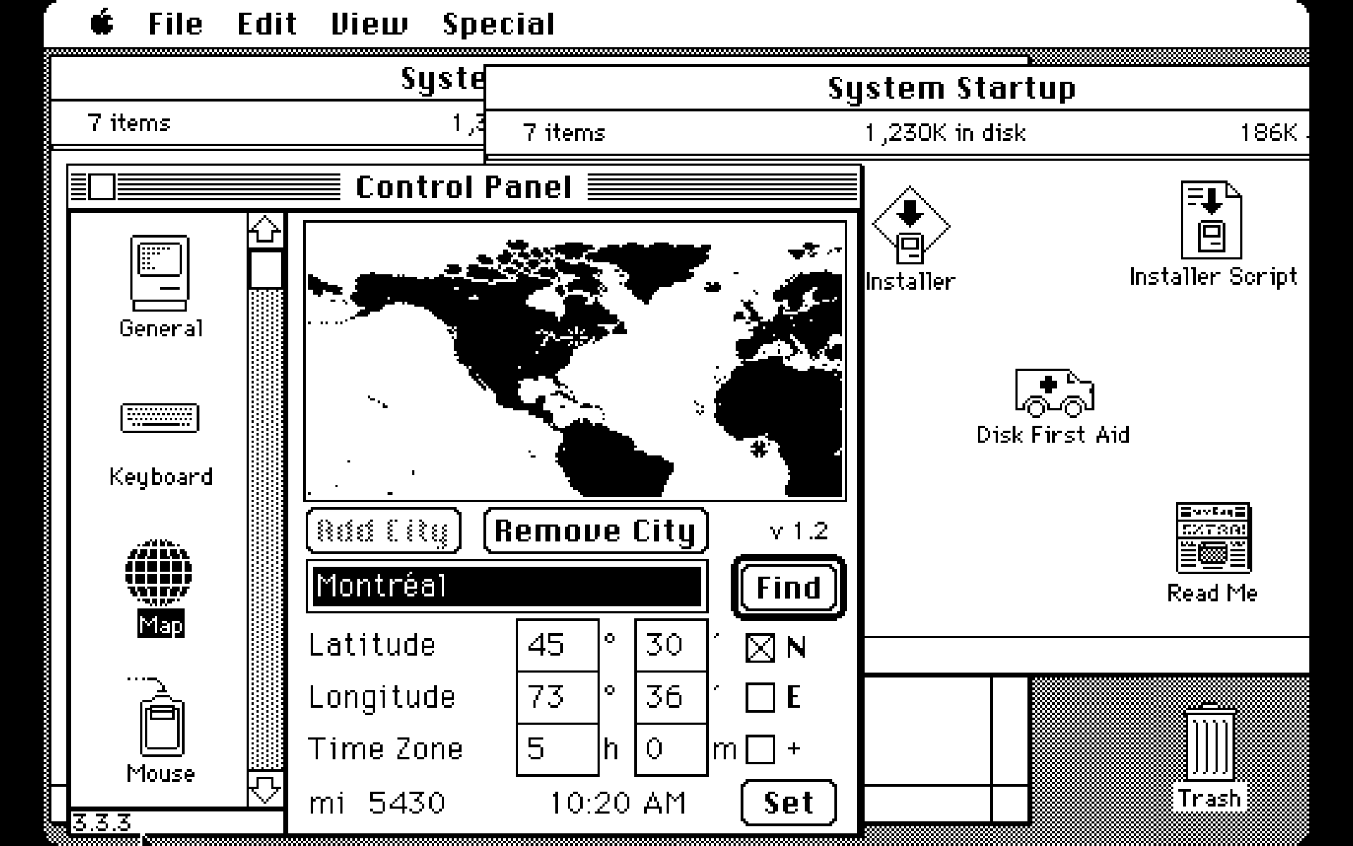 Mac OS System 6 desktop showing system map (1988)