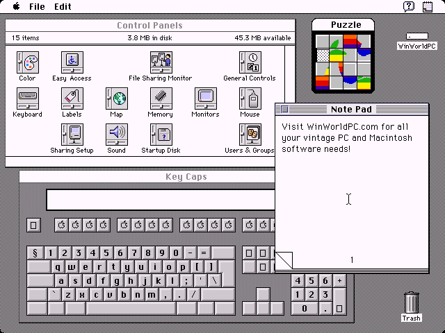 Mac OS System 7 Control Panel, Note Pad, Puzzle, and Key Caps (1991)