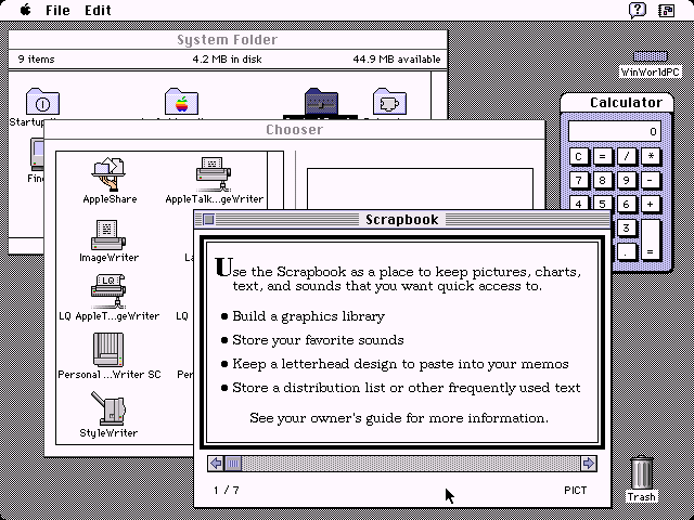 Mac OS System 7 Chooser, Calculator, and Scrapbook (1991)