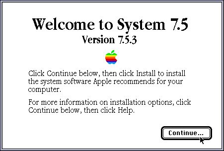 Mac OS System 7.5 installation screen (1994)