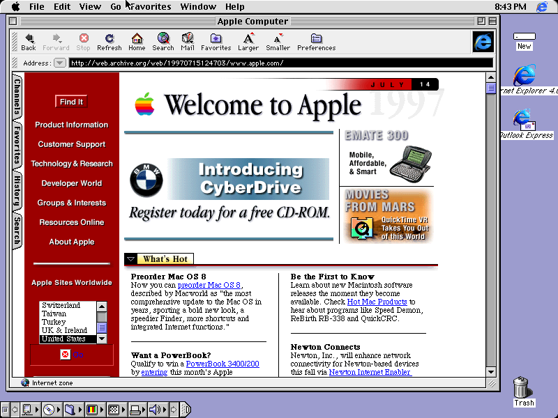 Mac OS 8.1 desktop running Internet Explorer (1998)