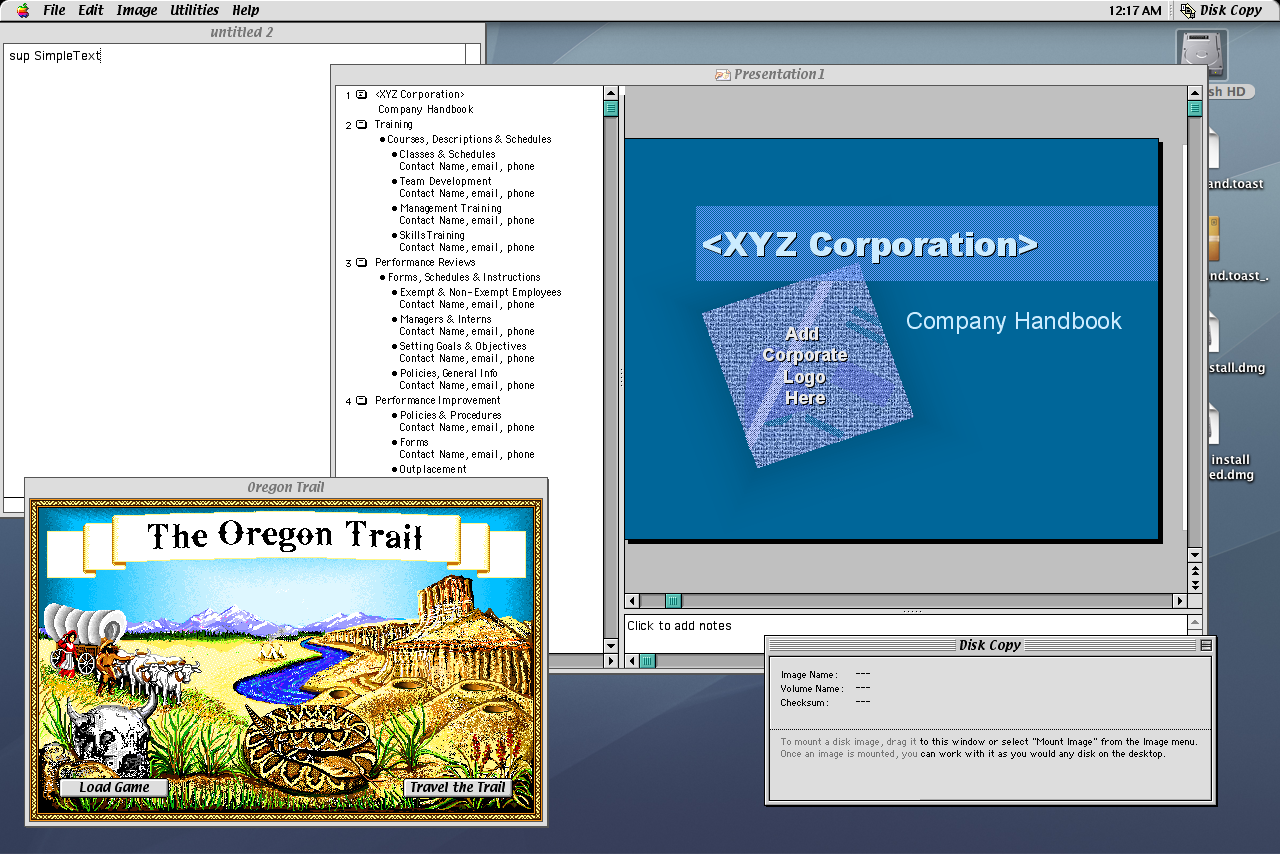 Mac OS 9.2 Desktop with apps (2001)