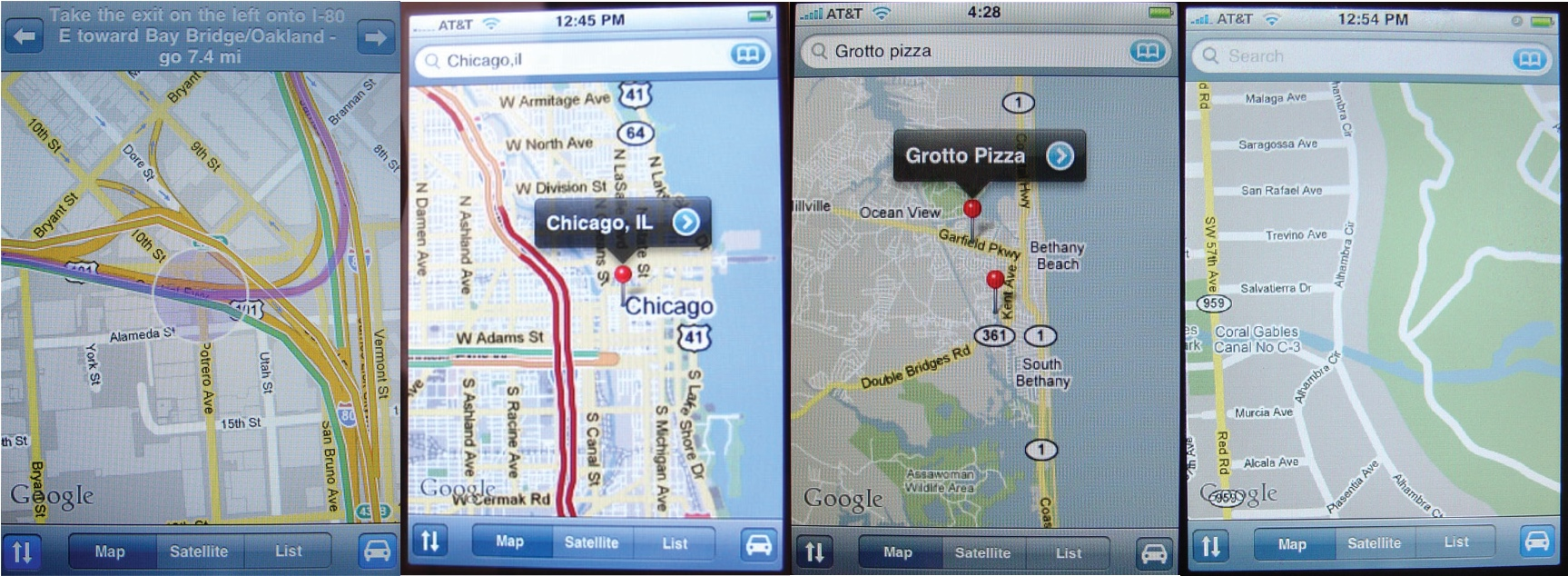 iPhone OS 1 Google Maps app (2007)