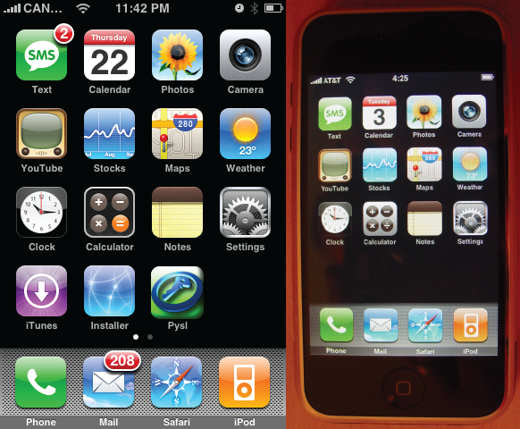 iPhone OS 1 home screen (2007)