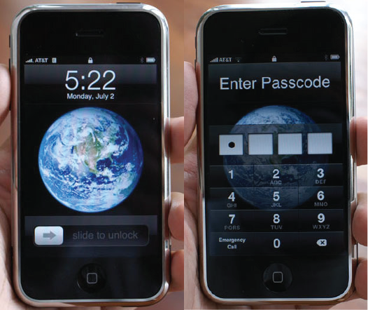 iPhone OS 1 lock screens (2007)