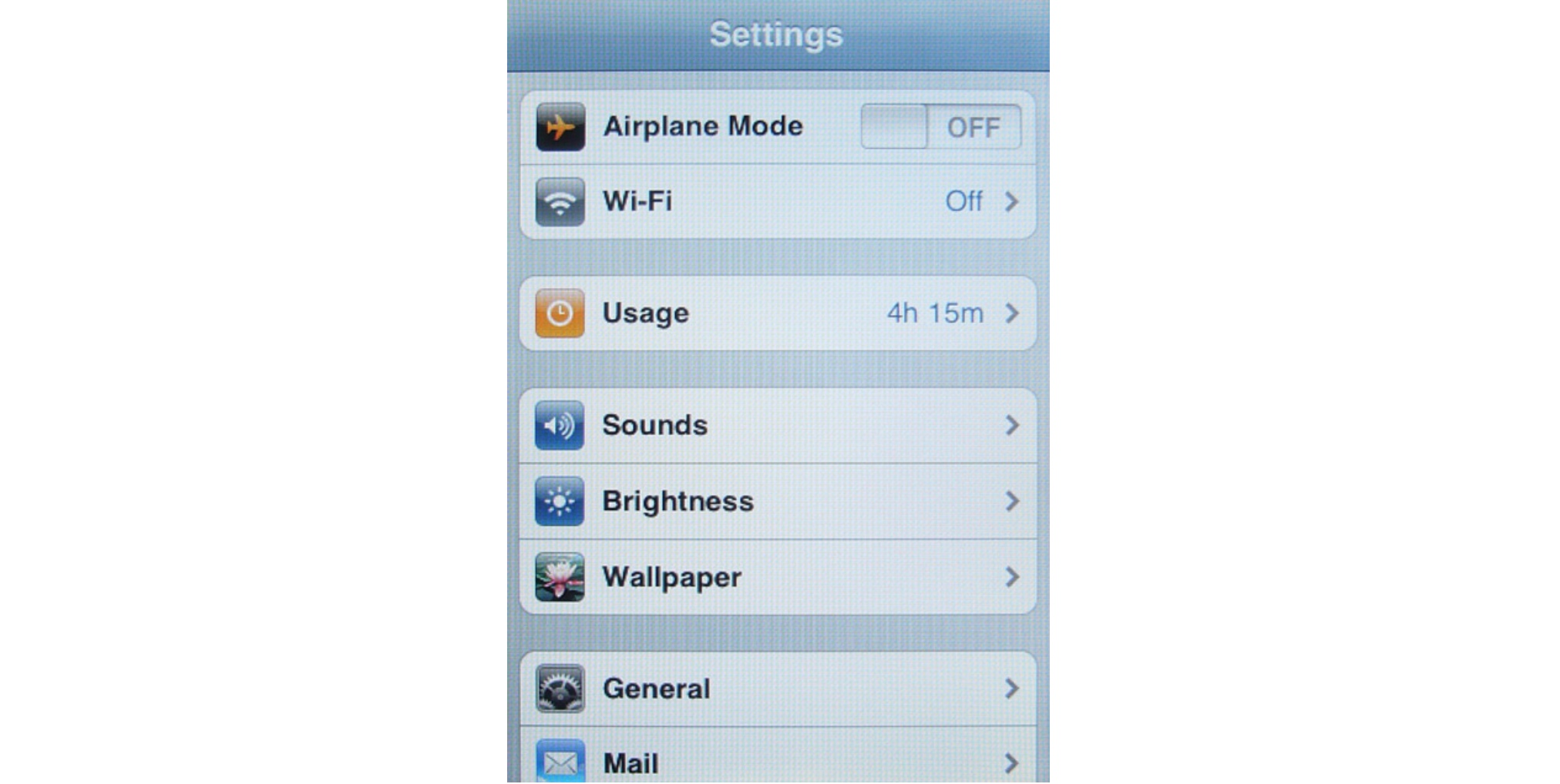iPhone OS 1 Settings (2007)