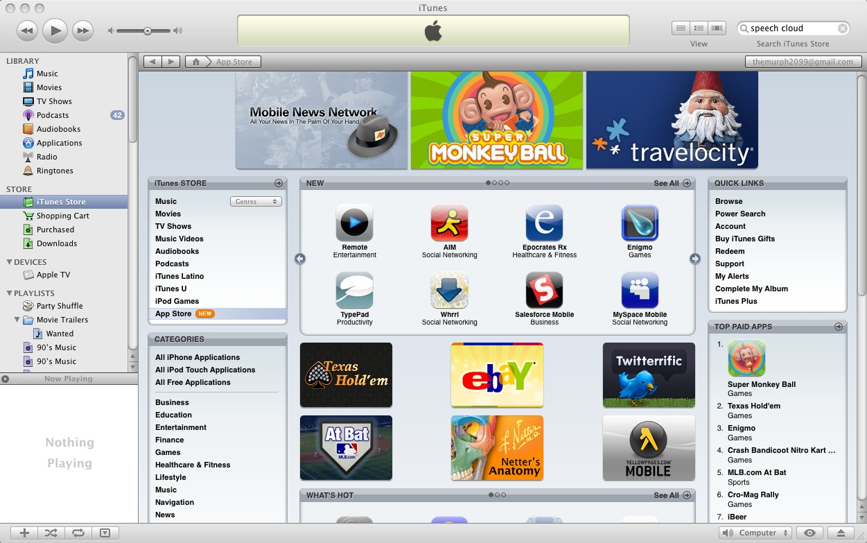 iTunes App Store on a Mac Desktop (2008)