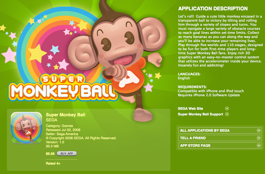 Super Monkey Ball app info page on iTunes  (2008)