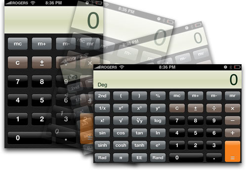 iPhone OS 2 scientific calculator in landscape mode (2008)