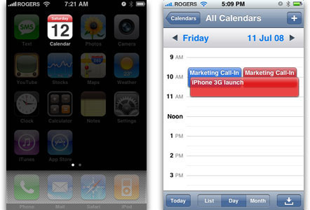 iPhone OS 2 multi-color calendar (2008)