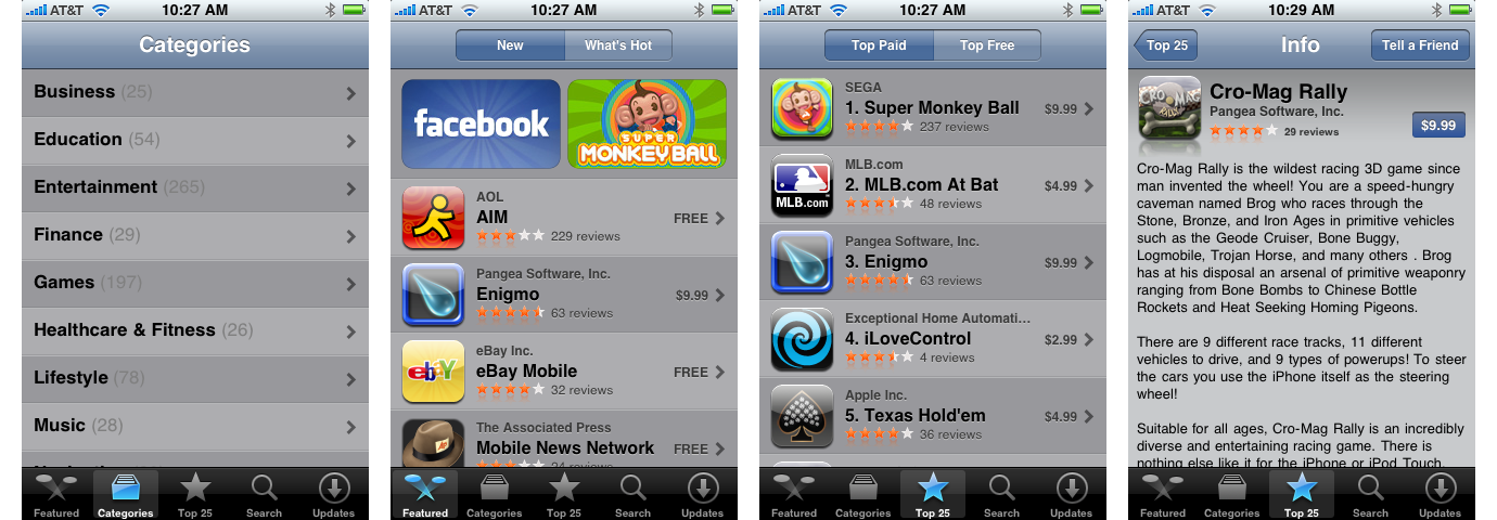 iPhone OS 2 App Store categories, new apps, top paid apps, and app info page (2008)