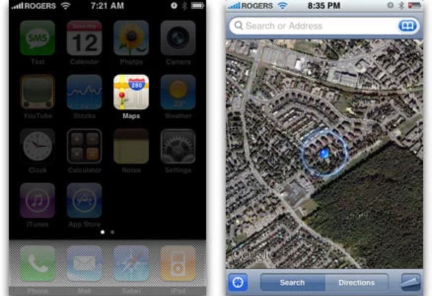 iPhone OS 2 Google Maps GPS Location dot (2008)