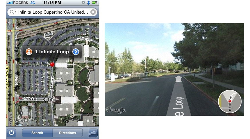 iPhone OS 2.2 Google Maps Street View (2008)