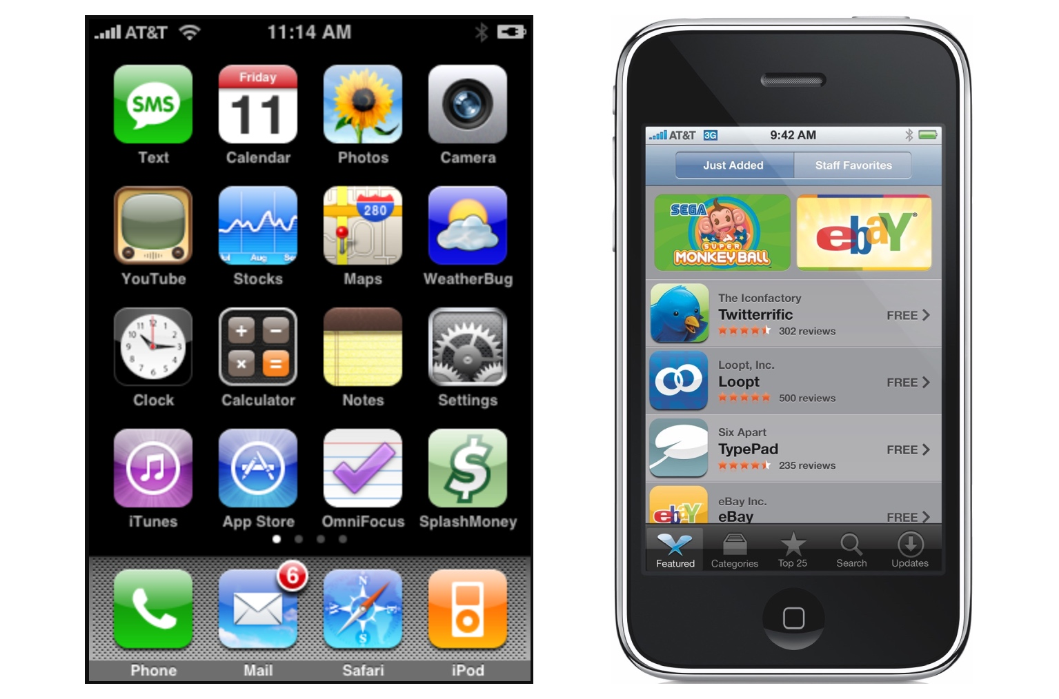 iPhone OS 2 Home screen and App Store on iPhone 3G (2008)