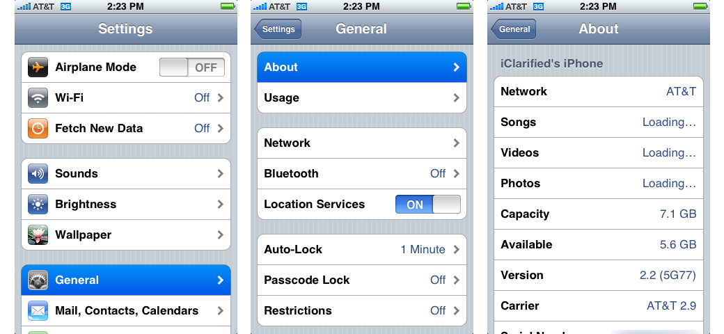 iPhone OS 2 Settings, General Settings, and About screen (2008)