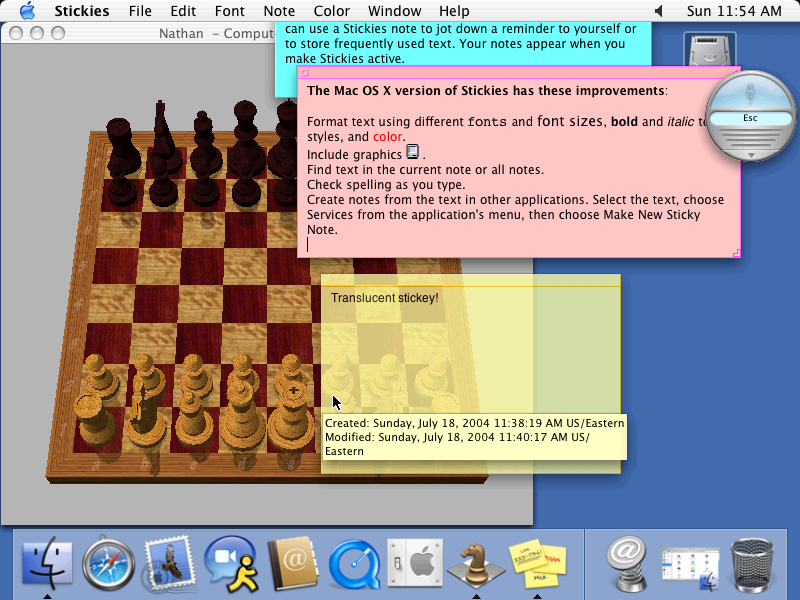 Mac OS X 10.3 Panther Chess and Stickies (2003)