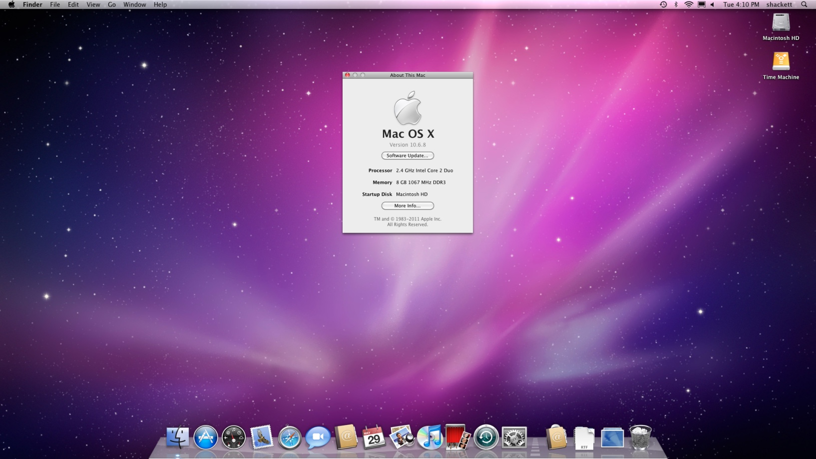 Mac OS X 10.6 Snow Leopard About dialog (2009)