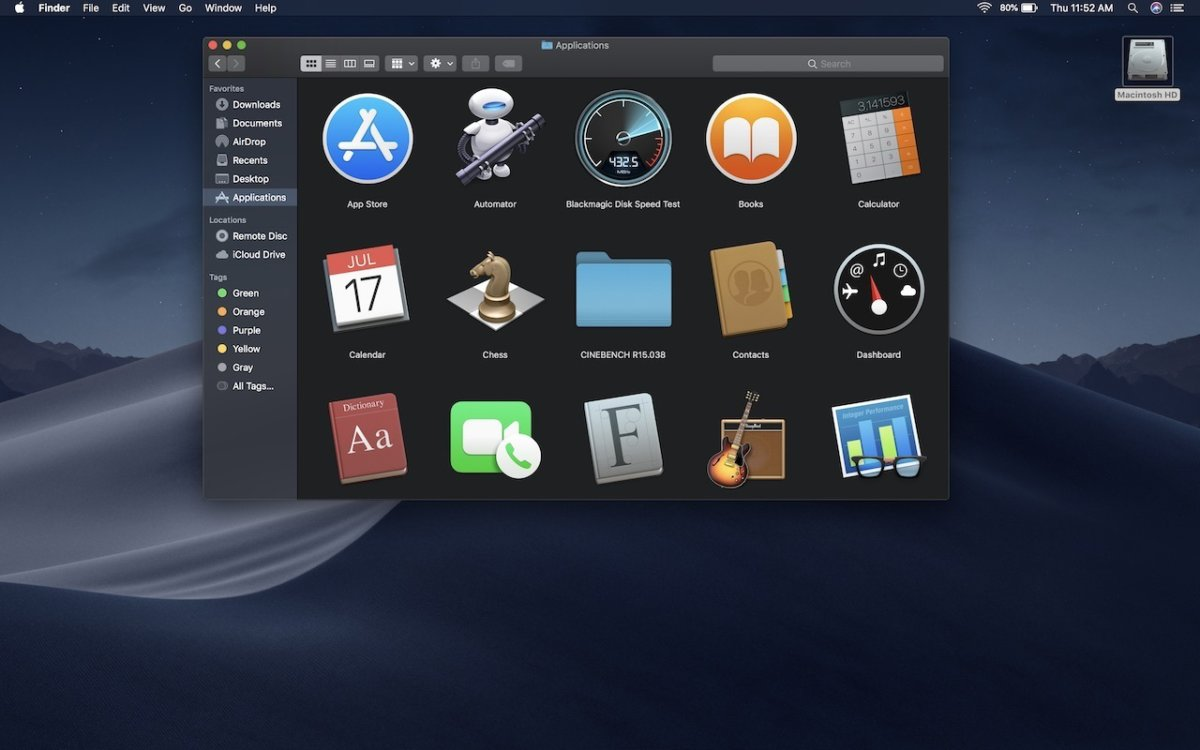macOS 10.14 Mojave Application Icons in Finder (2018)