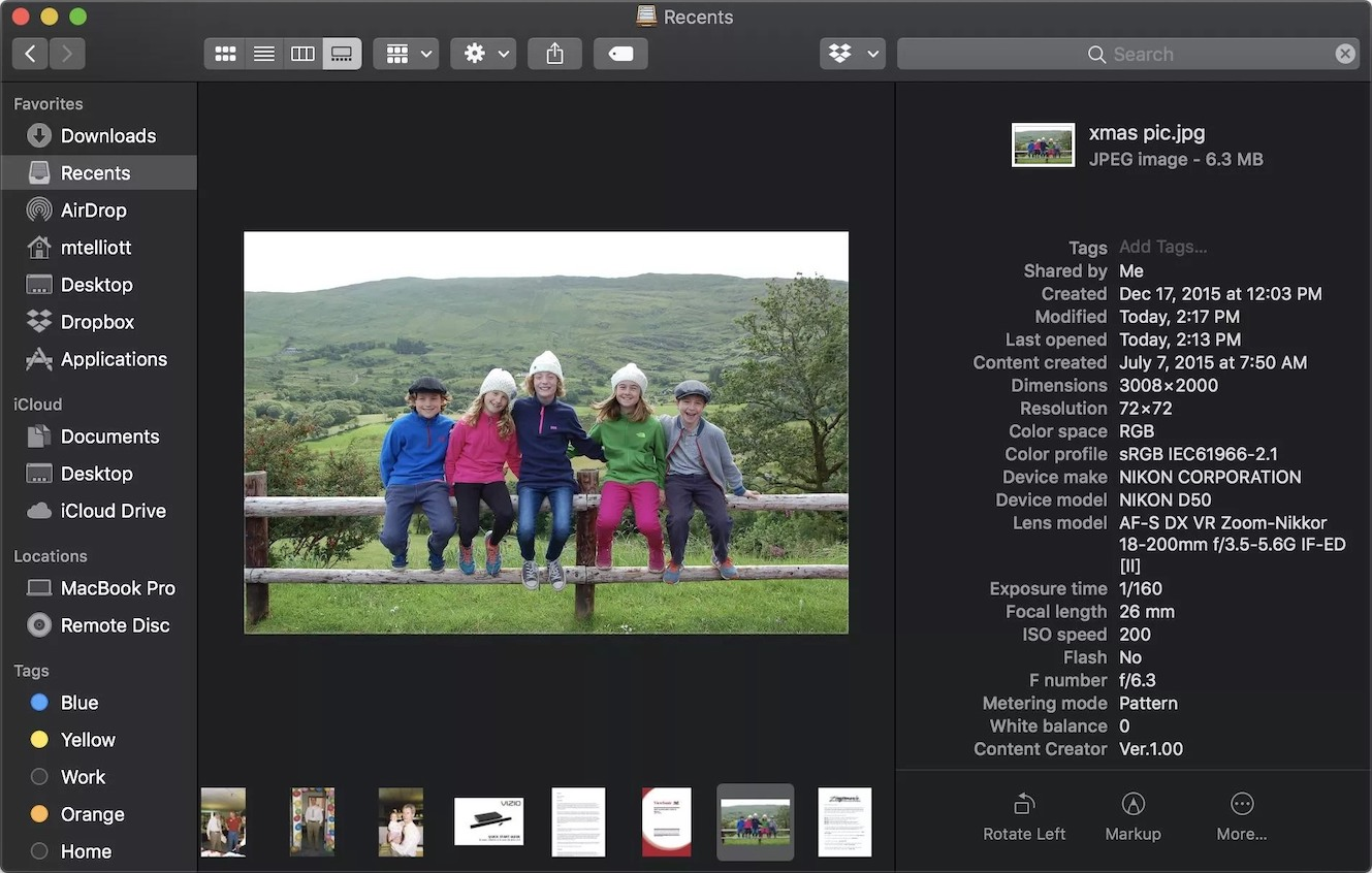 macOS 10.14 Mojave Finder Gallery View (2018)