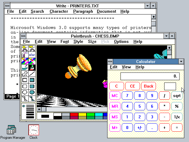 Windows 3.0 Desktop with Write, Paintbrush, and Calculator (1990)