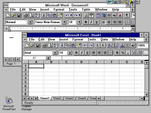 Windows 3.1 MS Word and MS Excel (1992)