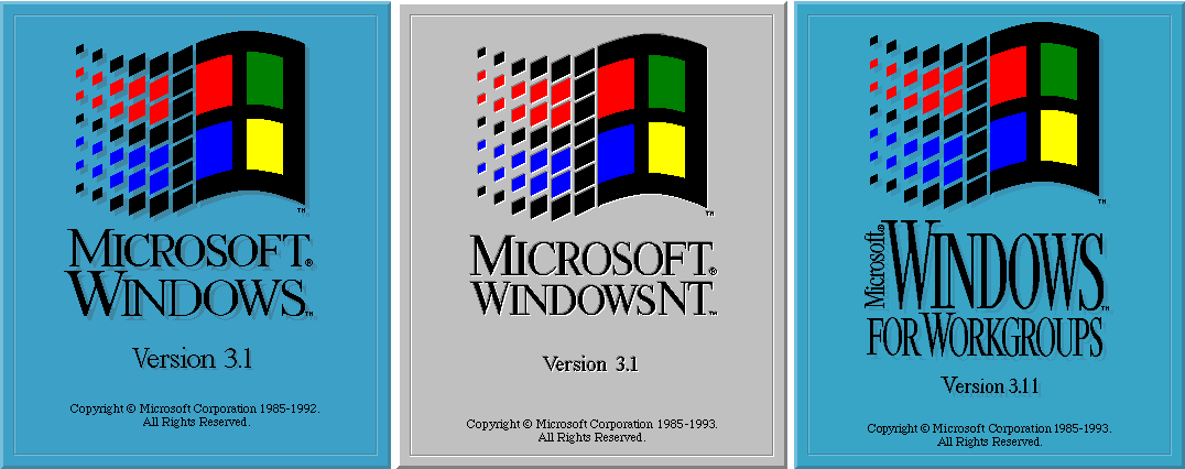 Windows 3.1, NT 3.1, and Windows for Workgroups 3.11 Title Screens (1992)