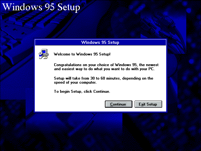 Windows 95 Setup/Installation Start (1995)