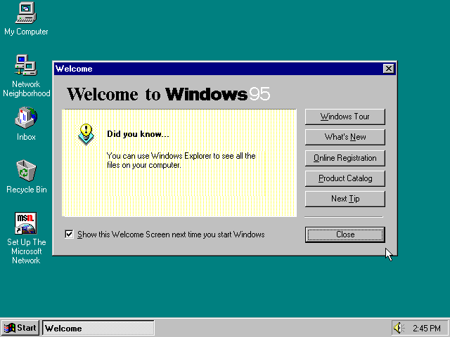 Windows 95 Welcome Dialog (1995)