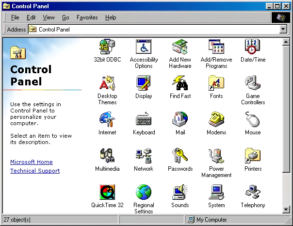 Windows 98 Windows Control Panel (1998)
