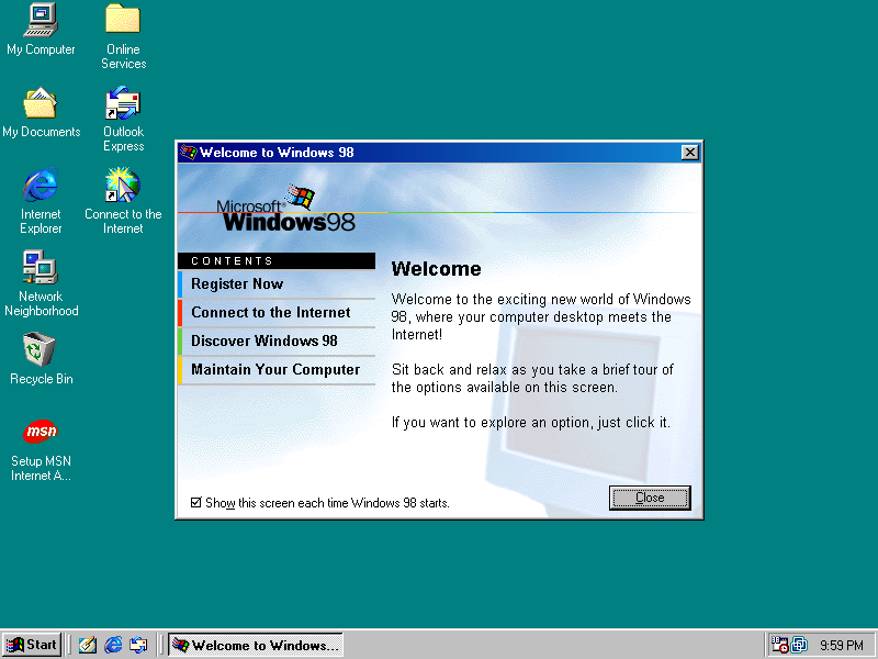 Windows 98 Desktop with Welcome Dialog (1998)