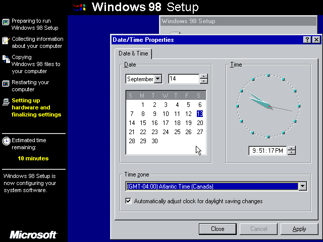 Windows 98 Installation/Setup (1998)