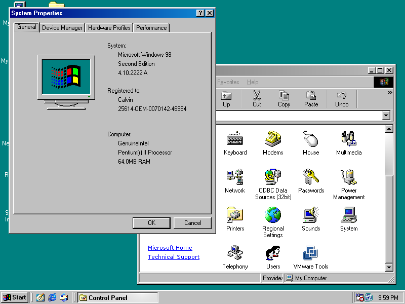 Windows 98 System Properties (1998)