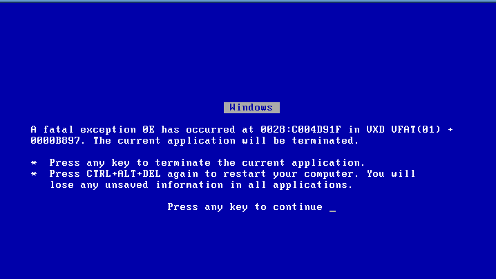 Windows ME Blue Screen of Death (2000)