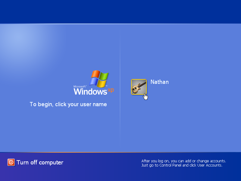 Windows XP Login Screen (2001)