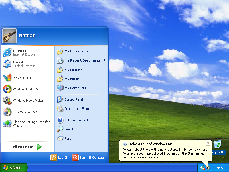 Windows XP Start Menu (2001)
