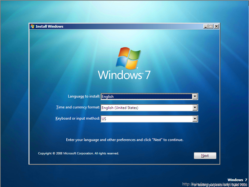 Windows 7 Installation/Setup Screen (2009)