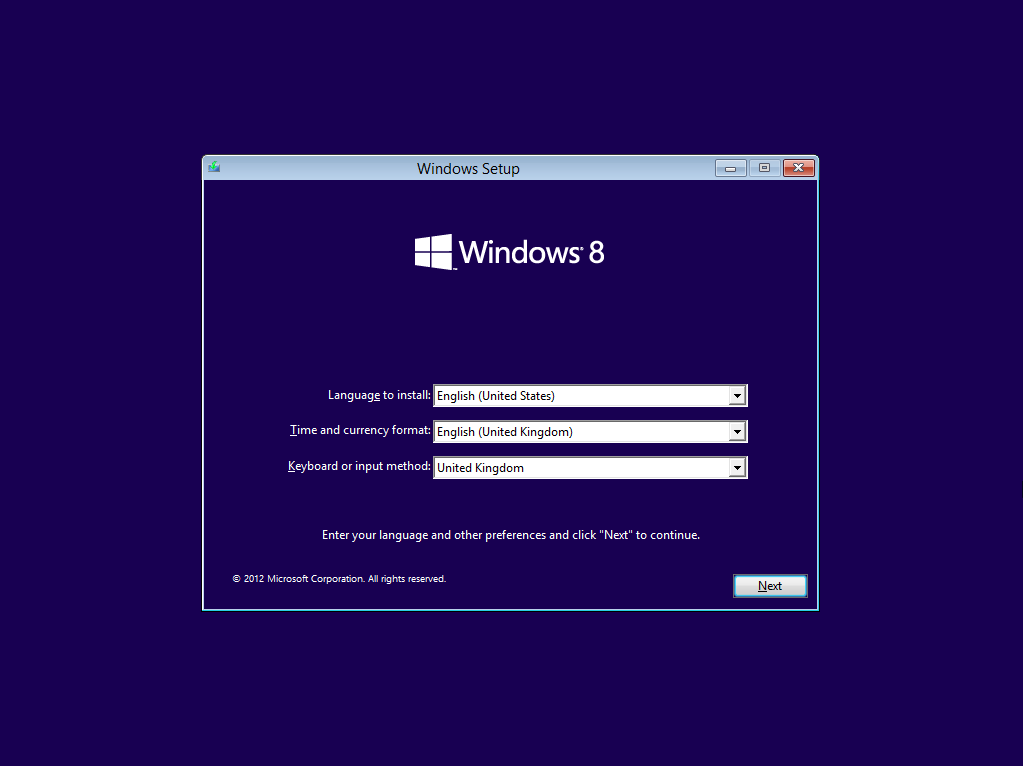 Windows 8 Installation/Setup Screen (2012)