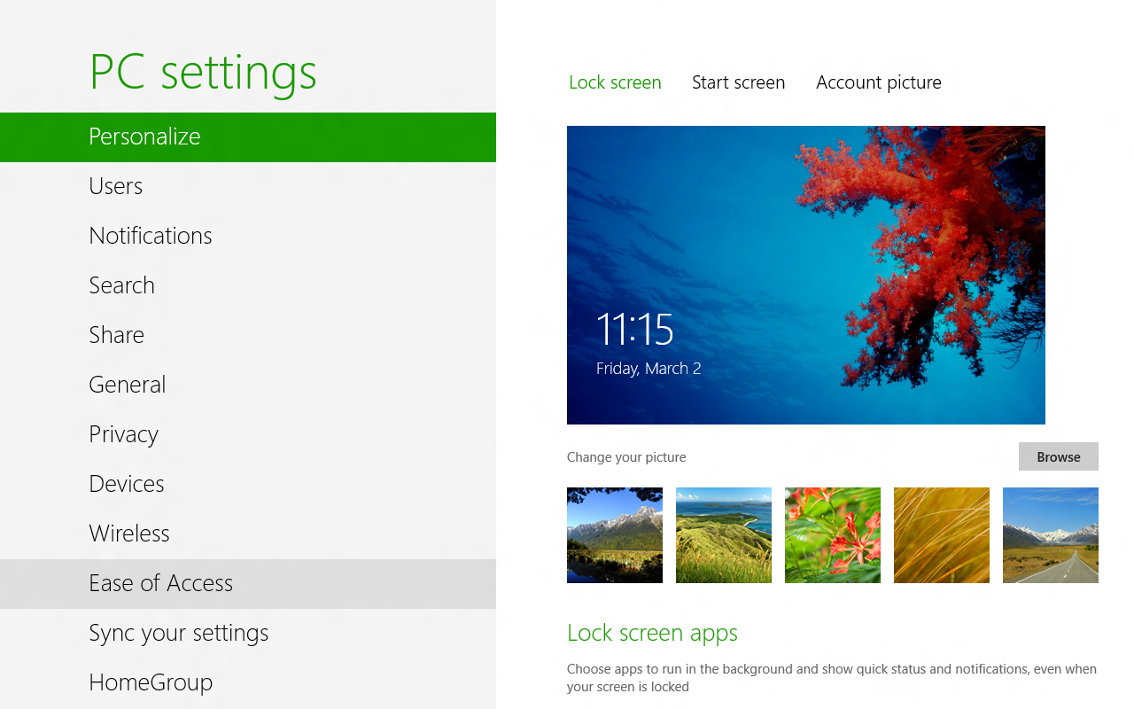 Windows 8 PC Settings (2012)