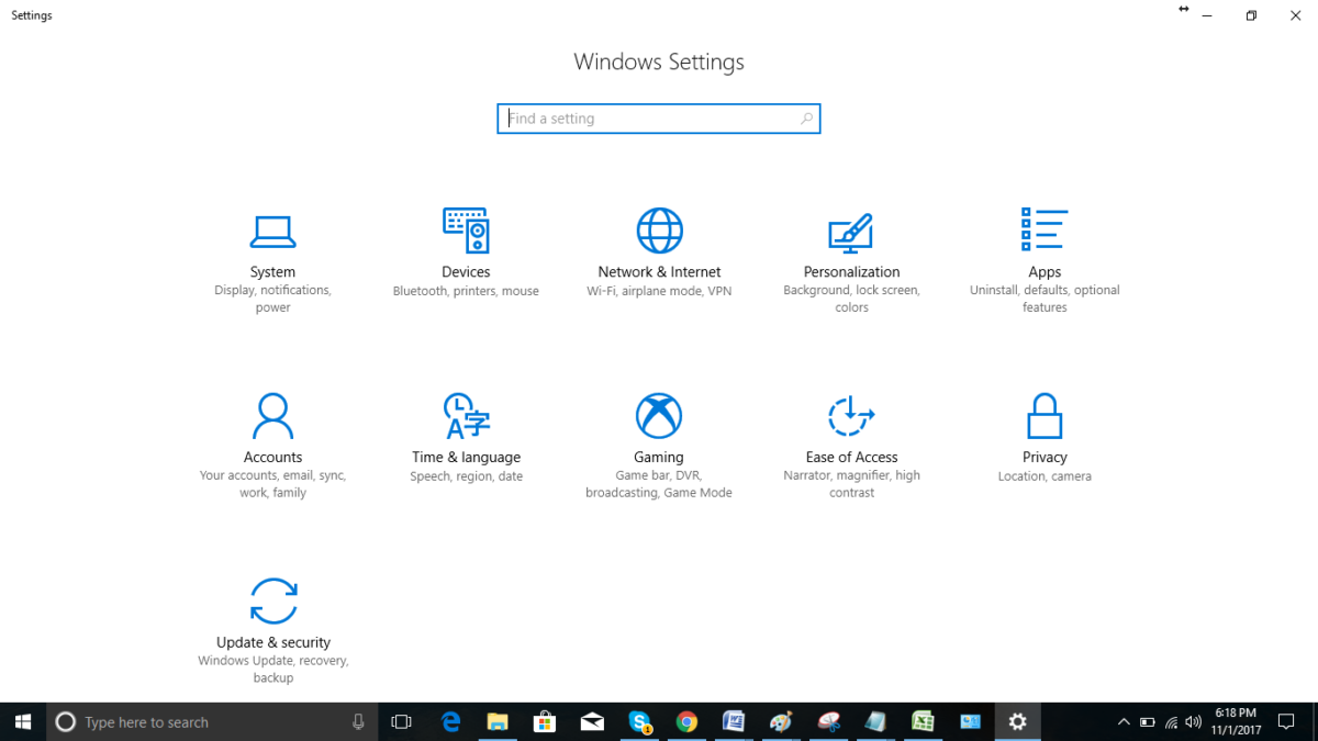 Windows 10 Settings (2015)