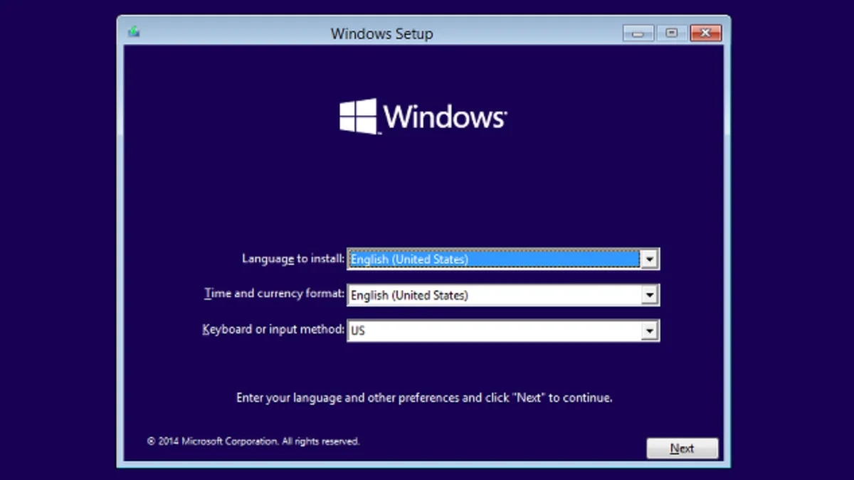 Windows 10 Installation/Setup Screen (2015)