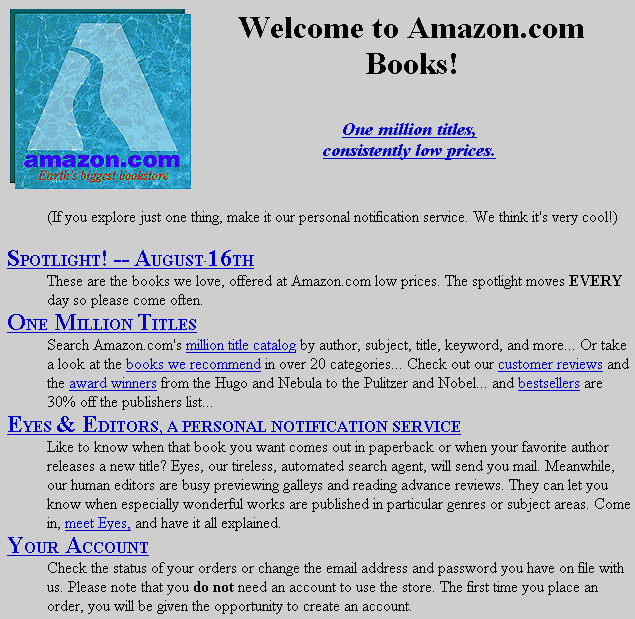 The original Amazon website (August 1995)