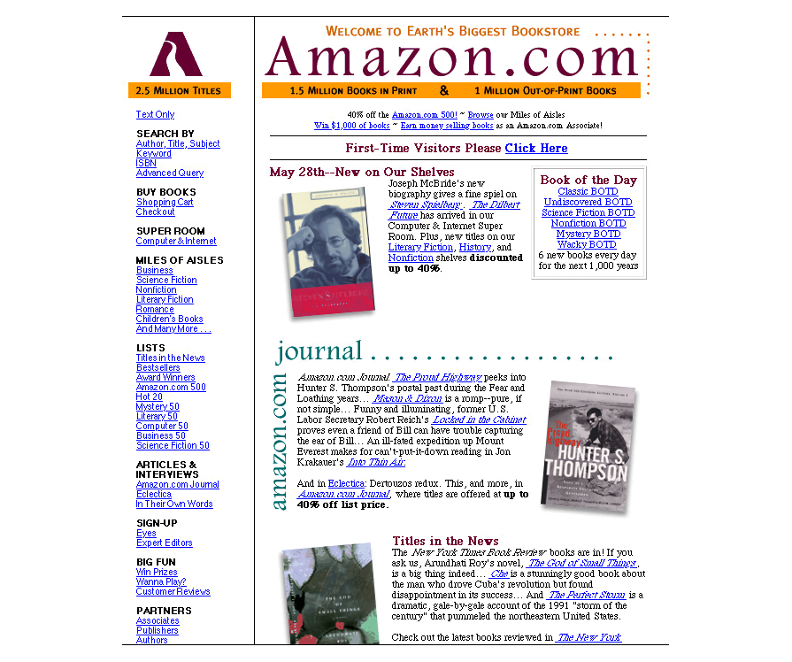 Amazon homepage image, restored by Version Museum (1997)